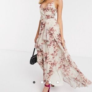 ASOS soft layered maxi dress in rustic floral
